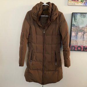 ZARA Down Puffer Jacket Mock Neck Quilted Medium